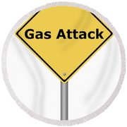 Warning Sign Gas Attack Round Beach Towel