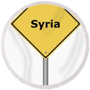Warning Sign Syria Round Beach Towel