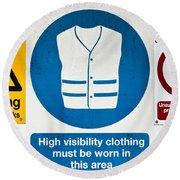 Warning Signs Round Beach Towel