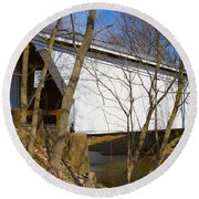 Warnke Covered Bridge  Round Beach Towel