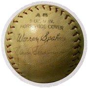 Warren Spahn Baseball Autograph Round Beach Towel