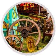 Warrenton Antique Days Wood Wheels And Wonders Round Beach Towel