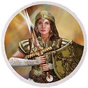 Warrior Bride Of Christ Round Beach Towel