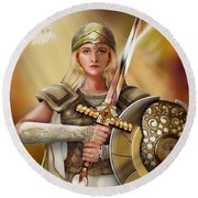 Warrior Bride Round Beach Towel