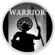 Warrior White Text Round Beach Towel