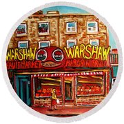 Warshaw's Bargain Fruit Store Rue St Laurent Montreal Paintings City Scene Art Carole Spandau Round Beach Towel