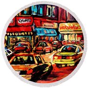 Warshaw's Bargain Fruits Store Montreal Night Scene Jewish Montreal Painting Carole Spandau Round Beach Towel