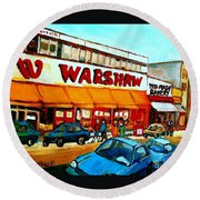 Warshaws Paintings Famous Fruit Store Main Street Montreal Art Prints Originals Commissions Cspandau Round Beach Towel