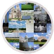 Washington D. C. Collage 2 Round Beach Towel
