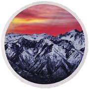 Wasatch Sunrise 3x1 Round Beach Towel by Chad Dutson