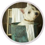 Wash Day Round Beach Towel by Edward Fielding