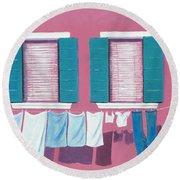 Washing Day Burano Venice Round Beach Towel