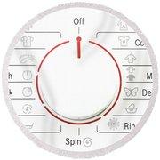 Washing Machine Controls With Symbols Round Beach Towel