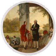 Washington And Lafayette At Mount Vernon Round Beach Towel