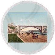 Washington Bridge 1901 Round Beach Towel