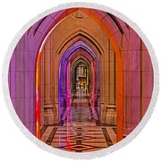 Washington Cathedral Light Show Round Beach Towel