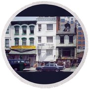 Washington Chinatown In The 1980s Round Beach Towel by Thomas Marchessault