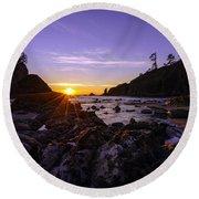 Washington Coast Sunset Dusk Round Beach Towel