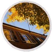 Washington D C Facades - Reflecting On Autumn In Georgetown  Round Beach Towel