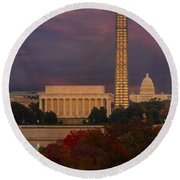 Washington Dc Iconic Landmarks Round Beach Towel