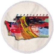 Washington Map Art - Painted Map Of Washington Round Beach Towel