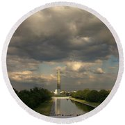 Washington Monument And Capitol Round Beach Towel