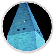 Washington Monument At Night Round Beach Towel