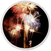 Washington Monument Fireworks 2 Round Beach Towel