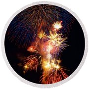 Washington Monument Fireworks 3 Round Beach Towel by Stuart Litoff