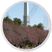 Washington Monument Reflected In Tidal Basin And Surrounded By P Round Beach Towel