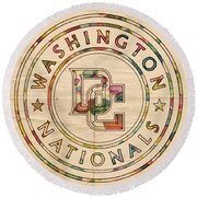 Washington Nationals Poster Vintage Round Beach Towel