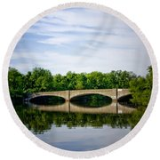 Washington Road Bridge Over Lake Carnegie Princeton Round Beach Towel