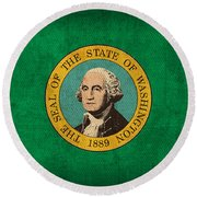 Washington State Flag Art On Worn Canvas Round Beach Towel