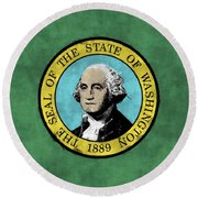 Washington State Flag Round Beach Towel