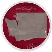 Washington State University Cougars Pullman College Town State Map Poster Series No 123 Round Beach Towel