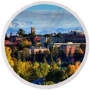 Washington State University In Autumn Round Beach Towel by David Patterson