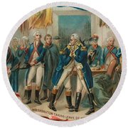 Washington Taking Leave Of His Officers Round Beach Towel