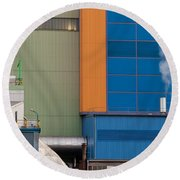 Waste-to-energy Plant Detail Oberhausen Germany Round Beach Towel