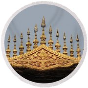 Wat Roof Detail Round Beach Towel