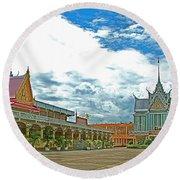 Wat Tha Sung Temple In Uthaithani-thailand Round Beach Towel