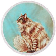 Watch Cat Round Beach Towel