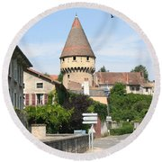 Watch Tower In Cluny Round Beach Towel