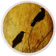 Watchers Of The East And West Round Beach Towel