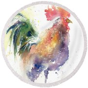 Watchful Rooster Round Beach Towel