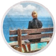 Watching And Waiting Round Beach Towel