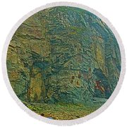 Watching Climbers From Ocean Floor At Cape Enrage-nb Round Beach Towel