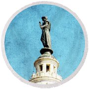 Watching Over The Plaza Round Beach Towel