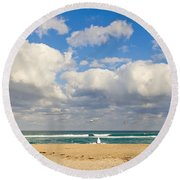 Watching The Waves Round Beach Towel