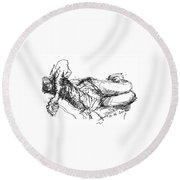 Watching Tv Round Beach Towel