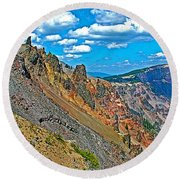 Watchman Overlook In Crater Lake National Park-oregon Round Beach Towel